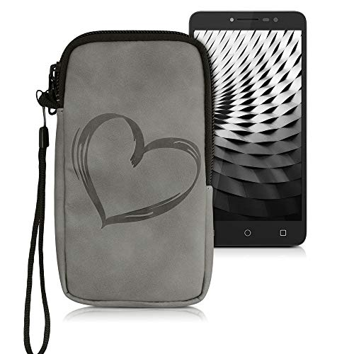 kwmobile Universal Smartphone Pouch Size M - 5.5' - Synthetic Leather Case w/Zipper - Brushed Heart Grey