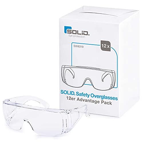 SOLID. gafas proteccion trabajo con ajuste perfecto y adapta a las gafas graduadas   gafas de seguridad con lentes resistentes a los arañazos, antivaho y protección UV   12 piezas paquete de valor