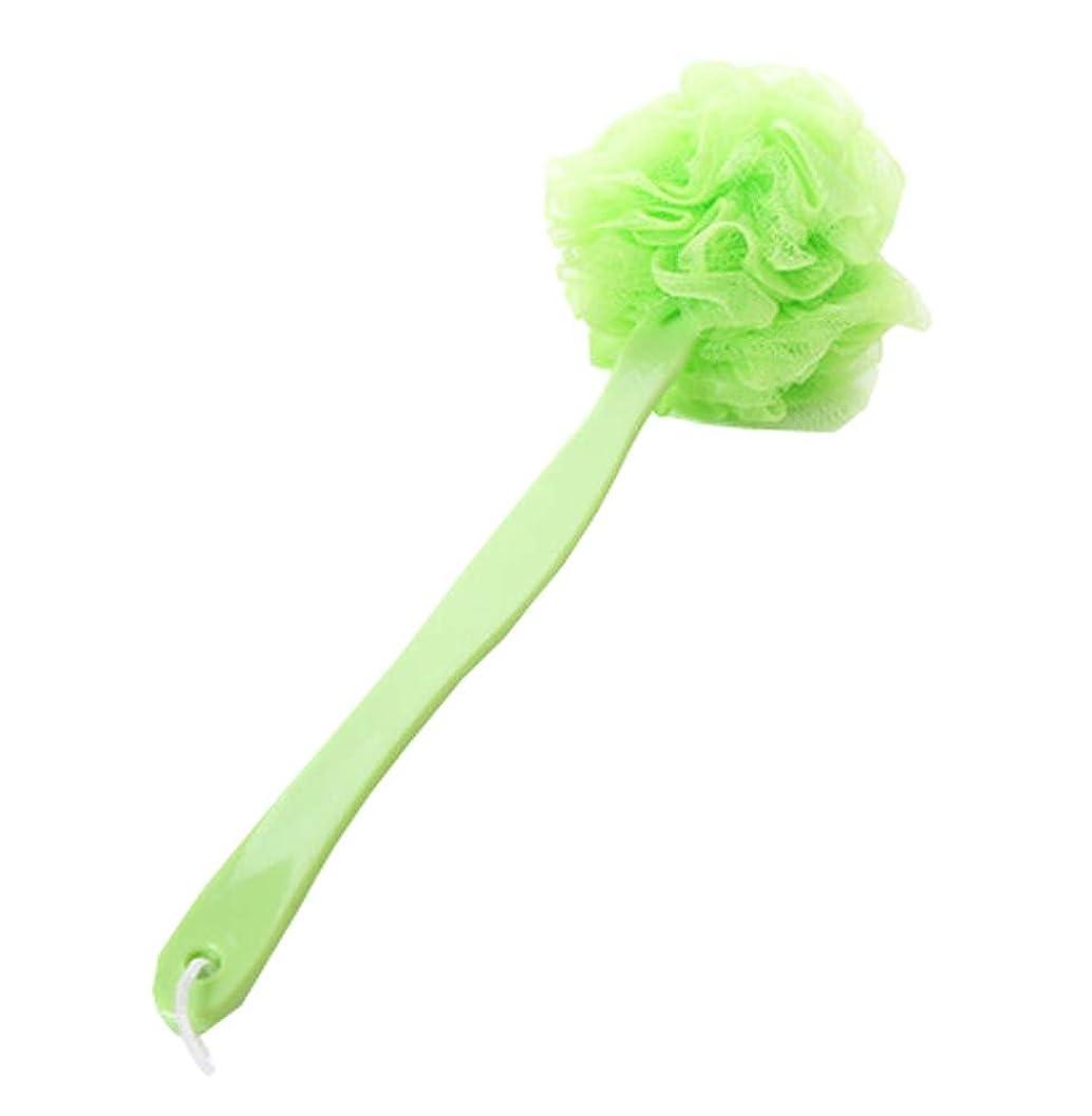 認める横にとらえどころのないシャワーボディブラシ - 健康的な美容スキンボディブラシ、ロングハンドルバス、グリーン