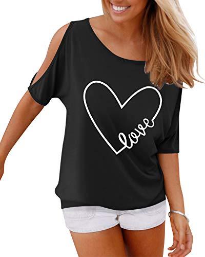 YOINS T-Shirts Damen Kurzarm Sommer Top Schulterfrei Oberteil Damen Off Shoulder Carmen Shirt Feder