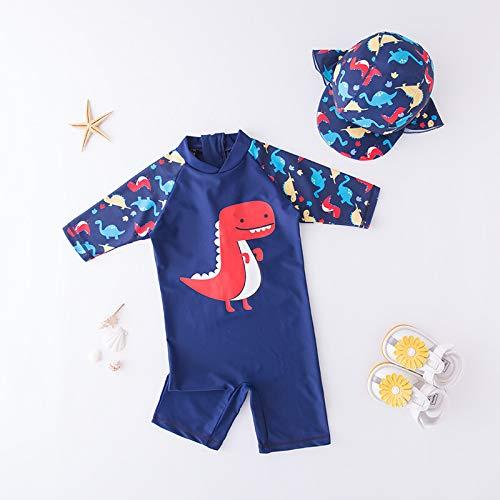 Traje de baño de bebé y sombrero de 2 piezas set surf Wear Red Crab traje de baño infantil infantil niños niños protector solar playa traje de baño (color: 71363, tamaño de niño: 110 3 4y)