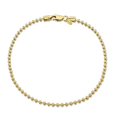 18K Gold Plated on 925 Sterling Silver 2 mm Ball Chain Bracelet Length 7