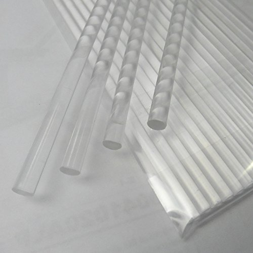 100pcs 6' X 5/32' Clear Acrylic Lollipop Sticks for Cake Pops Lollipop Candy
