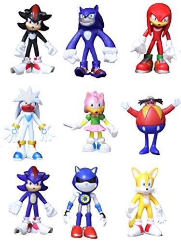 Figura 9 unids/lote figuras sónicas juguete PVC juguete Sonic Shadow Tails personajes figura juguete