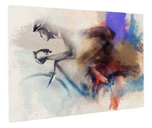 REITANO GROUP Stampa su Tela Quadro Tema Ciclismo Bici Donna Uomo 50 x 70 cm con Telaio in Legno Made in Italy Fatto artigianalmente casa Negozio arredo T044