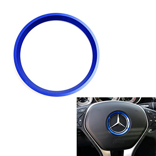 iJDMTOY (1) Sports Blue Aluminum Steering Wheel Center Decoration Cover Trim For Mercedes B C E CLA GLA GLC GLK Class, etc