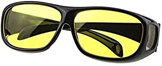 """Unisex HD Night Vision Driving Sunglasses Yellow Lens Over Wrap Around Glasses Sunglasses to """"fit over"""