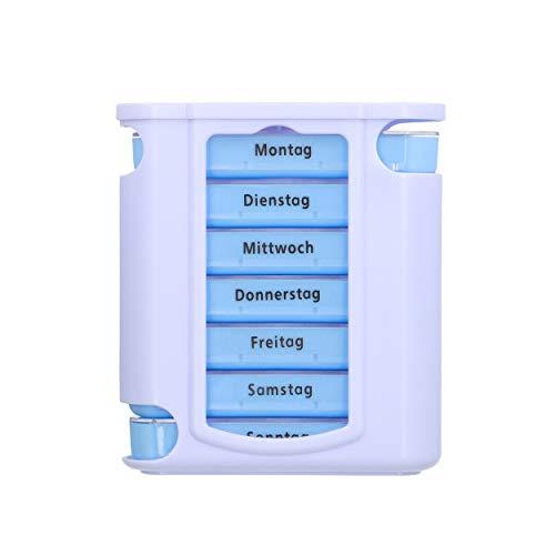 mumbi Tablettenbox 7 Tage Tablettenteiler Tablettendose Tabletten Pillen Box Dose 4 Fächer Aufbewahrung Woche