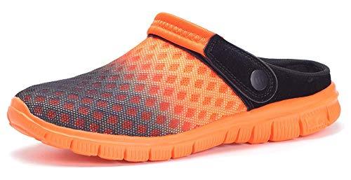 Zuecos Hombres Mujeres Unisex Zapatillas de Playa Sandalias Piscina Vernano Zapatos de Jardín Respirable Malla Casual Pantuflas - Negro Naranja, 45 EU