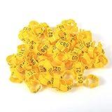WolfGo Poultry - 6 colores 100 piezas/bolsa de 16 mm 001 – 100 anillos de plástico numerados para las aves de corral, pollos y patos (amarillo)