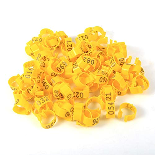 Viccilley Poultry Leg Rings - 6Colors 100PCS/Bag 16MM 001-100 Numbered Plastic Poultry Chickens Ducks Goose Leg Bands Rings(Yellow)