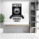 Etiqueta de la pared de la sala de lavandería Signo de la sala de lavandería Etiqueta de la pared Decoración de la muestra de la ventana de la tienda Decoración del hogar-67x78cm