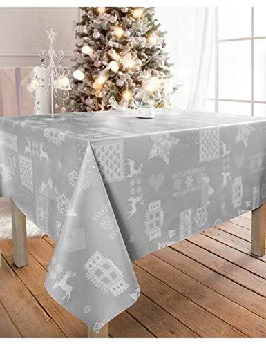 Wjdhome, tovaglia con rilievo, stie: Natale, colore: grigio, facile da pulire, dimensioni: 140 x 200cm