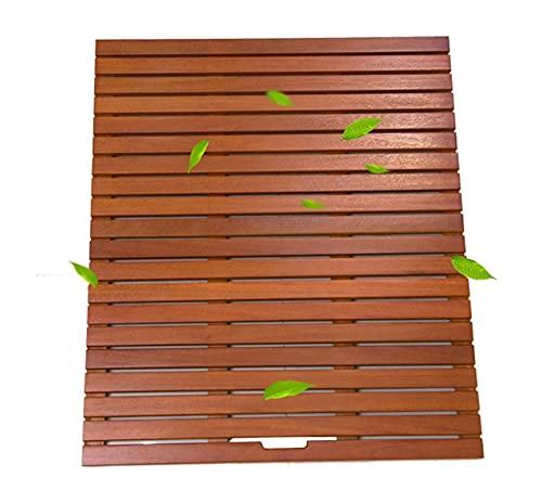 Estera de baño de ducha de madera natural, almohadilla de pie impermeable rectángulo antideslizante para baño de ducha, personalizable tarima de madera para ducha ( Color : A , tamaño : 30x30cm )