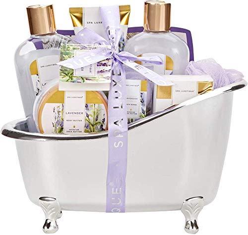 Spa Luxetique Gift Baskets for Women, Lavender Bath Set, Gift Set for Women, Luxury 8 Pcs Home Gift Baskets Includes Body Lotion, Bath Bombs, Bubble Bath, Best Gifts for Women Christmas, Holiday.