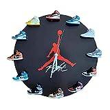 JYMEI Reloj De Pared con Mini Zapatillas Retro 3D, Reloj De Pared De Generación De Modelo De Zapato Tridimensional Silencioso para Decoración De Estilo,Negro