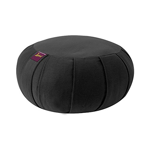 Yogavni Yogavni-Zafu-Round-Cotton-Black Round Pure and Natural Cotton Filled Yoga Meditation Zafu Cushion, Black