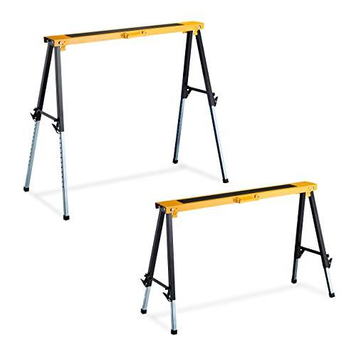 Relaxdays 10026077 2 Caballetes para Mesa y Trabajos de Bricolaje hasta 250 kg, Acero, Negro-Naranja, Altura Regulable 64-91,5 cm