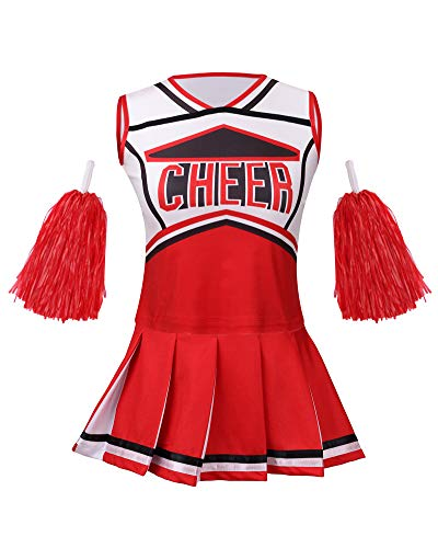 yolsun Cheerleader Costume for Girls Halloween Cute Uniform Outfit (120, Red)