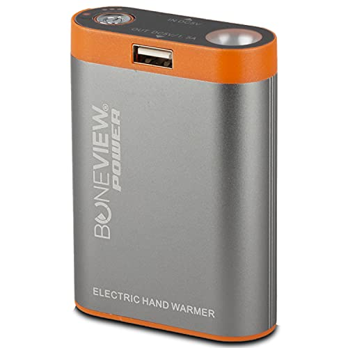 Electric Hand Warmer Phone Charger - HotPocket Lithium Ion Battery Pack, 115 Degree Heat for 8 Hours, Charge iPhone or Android Phones, Flashlight, 9900 mAh Portable Power