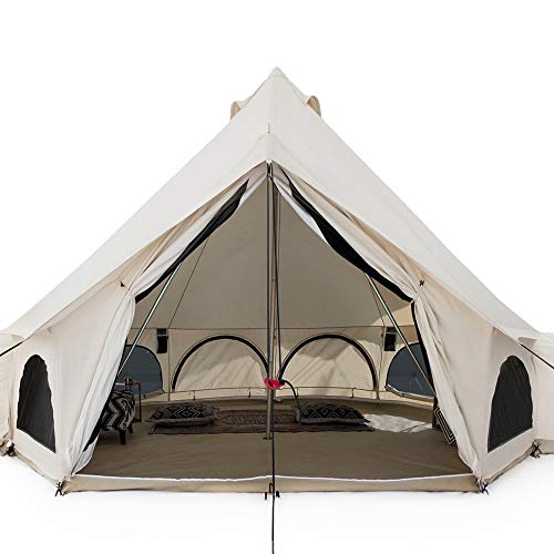 White Duck Outdoors Premium Luxury Avalon Canvas Bell Tent with Stove Jack, Bug mesh for All Season Camping and Glamping (6M (20'), Fire Water Repellent)
