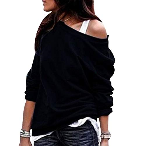 Sudaderas Mujer Sudadera Hombros Descubiertos Chica Oversize Sudaderas Lisas sin Capucha Basicas Casual Anchas Jersey Camisetas Manga Larga Mujer Tallas Grandes Deportivas Bonitas Simples Negro XL