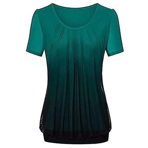 NPRADLA 2019 Damen beiläufige Steigung gedruckt Plissee Plus Größe Stammes T Shirt Tops Bluse(Grün-2,XL)