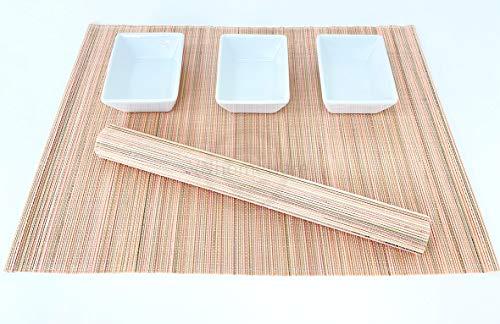 6 faite à la main en bambou Sets de table, sets de table, Lot de 6, vert jaune, P016