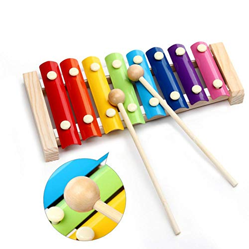 Xilófono de madera para bebé, instrumentos musicales, multicolor, juguete musical para bebés, juegos educativos tempranos, mini músicos con 1 timbre de muñeca, regalo perfecto para niños