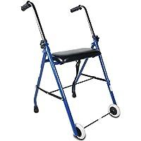 Mobiclinic, Modelo Emérita, Andador para ancianos, adultos, mayores o minusválidos, de acero, ligero, plegable, con asiento y 2 ruedas, Color Azul
