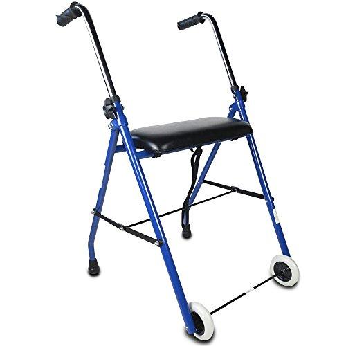 Mobiclinic, Modell Emérita, Gehwagen für Senioren und behinderte Menschen, Rollator aus Stahl, faltbare Gehhilfe, mit gepolstertem Sitz und ergonomischen Handgriffen, einstellbare Höhe, Blau