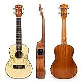 Kmise Concert Ukulele Electric Acoustic Solid Spruce Top Sapele Ukelele Ukele Uke 23 inch 4 String Hawaii Guitar with EQ