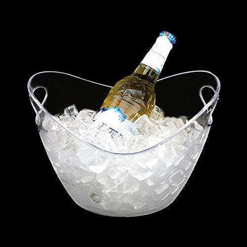 Irtyif Secchio di Ghiaccio, Secchiello per Champagne, 3L Bevande Secchiello per Il Ghiaccio in plastica Secchiello per Il Ghiaccio Riutilizzabile Adatto per Feste con Bevande Bar di casa