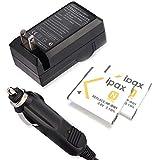 Ipax 2X Battery Wall Charger Car Plug Compatible with Sony Cyber-Shot DSC-TX30 DSC-W320 DSC-W350 DSC-W380 DSC-W510 DSC-W520 DSC-W55 DSC-W630 NP-BN1