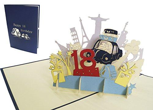 LIN-POP UP Grußkarten zum 18. Geburtstag, Geburtstagskarten Grußkarten Glückwunschkarten