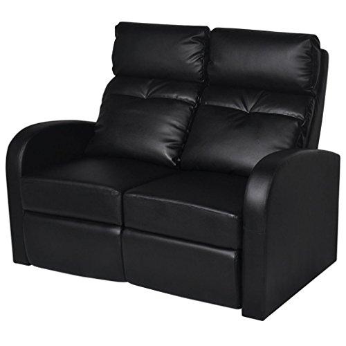 Festnight Kunstleder 2-Sitzer Sofa | Heimkino Sessel Verstellbare Rückenlehne und Fussstütze | Doppel-Relaxsessel Liegesessel Fernsehsessel Sitzkomfort Schwarz