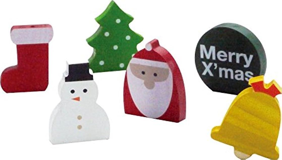 不安ミスペンドチューリップ現代百貨 クリスマス 飾り WOOD WORKING X'mas ミニモチーフ サンタ&スノーマン 6個セット K993SS