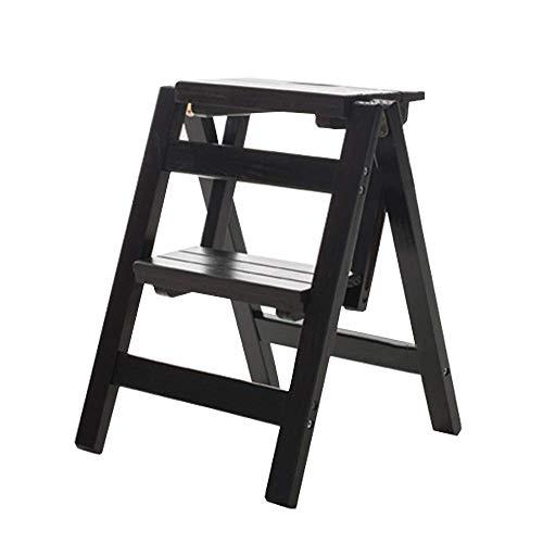 WWF Holzleiter 2 Stufen Multi-Function Folding Schritt Laddershelf Leiter-Familie Küche Bibliothek, 150 Kg Kapazität (3 Farben) Ladder hgfjhgjhfgfdhg/Schwarz