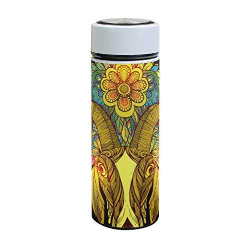 Mnsruu ISAOA - Botella de Agua de Acero Inoxidable con diseño de Cabeza de Cabra Africana con Flores, Doble Pared aislada al vacío, a Prueba de Fugas, para Deportes al Aire Libre