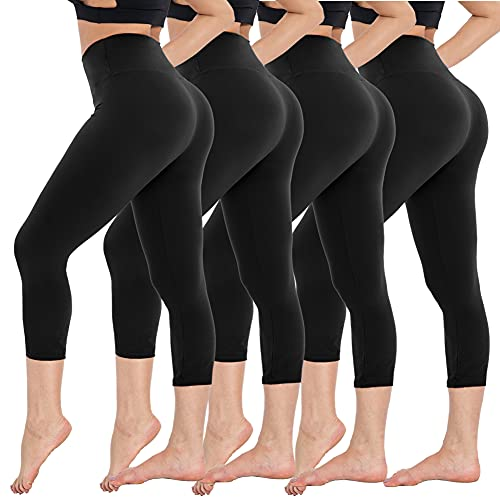 CAMPSNAIL 4 Pack Capri Leggings for Women - High Waisted Capris Soft Tummy Control Yoga Pants Workout Running Cycling Tights