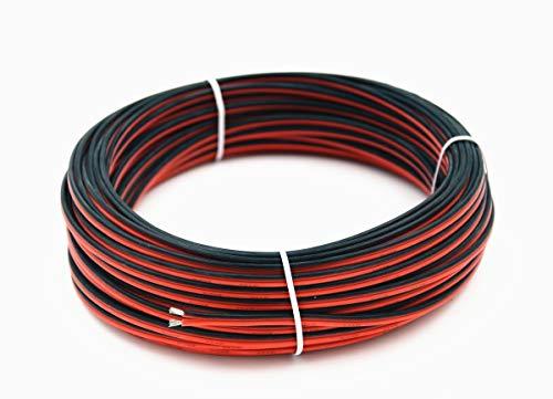 TUOFENG 20 awg Cavo elettrico in silicone 10 metri [Nero 5 m Rosso 5 m] 2 Conduttori Linea parallela flessibile 20 Gauge Fino fili senza ossigeno Filo di rame stagnato