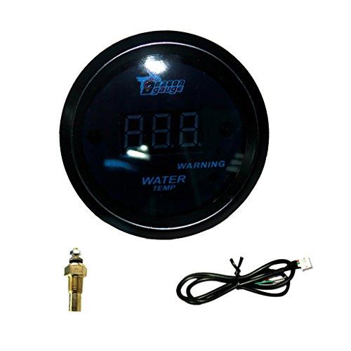 B Blesiya Medidor de Sensor de Temperatura del Agua LED Azul Digital para Automóvil de 52 Mm con Luz de Advertencia