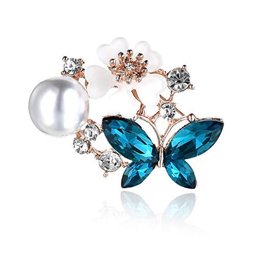 U/N Lila Kristall Schmetterling Broschen für Frauen Mädchen Pullover Kragen Stifte Männer Blaue Schmetterling Brosche Stifte Anzug