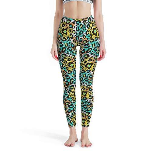XJJ88 - Pantalones de Yoga para Mujer, diseño de Leopardo, Cintura Alta,...