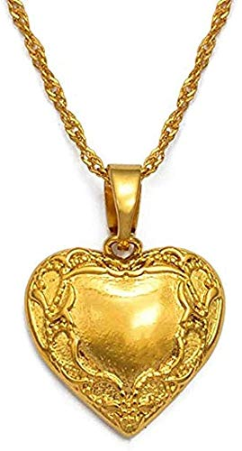 ZGYFJCH Co.,ltd Collar de Moda Collar de corazón Collares Pendientes Joyería romántica Color Dorado para Mujeres Niñas Regalo de Boda Novia Esposa Regalos Collar Colgante Niñas Niños Gesc