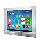 Haocrown 27-inch Mirror Bathroom TV, IP 66 Waterproof LED Full HD Smart Television,2020 Model Android 10.0 System with Built-in Wi-Fi Bluetooth