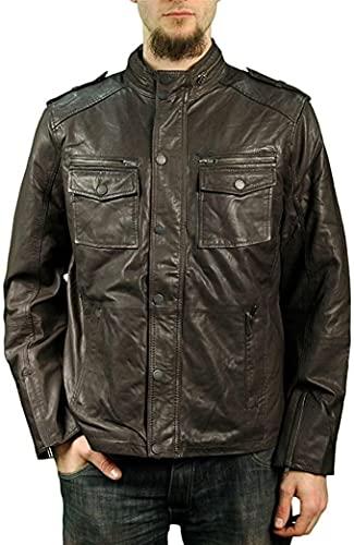 Veste homme cuir véritable marron délavé style biker motard look rétro vintage
