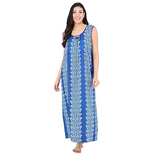Shararat Women's Cotton Sleeveless Night Gown/Printed Nighty - Free Size (Blue)