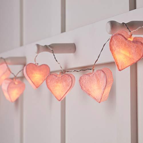 Lights4fun - Catena di 10 Luci LED Bianco Caldo a Pile con Cuori di Carta Rosa