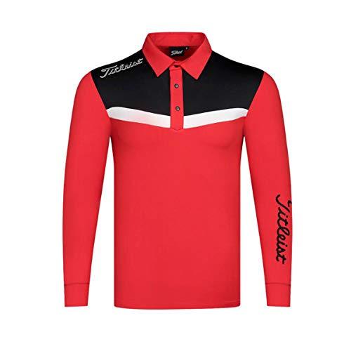 Heren Poloshirts Lange Mouw Sneldrogend Sportjack Vrije Tijd Lente Herfst Golfkleding,Red,M